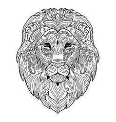 tangle lion coloring book page for adult vector image