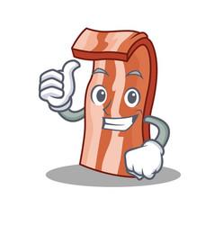 Thumbs up bacon character cartoon style vector