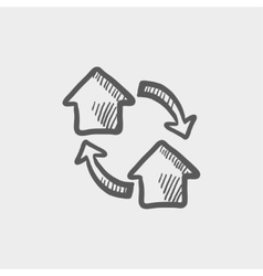 Two little houses sketch icon vector
