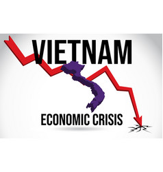 Vietnam map financial crisis economic collapse vector