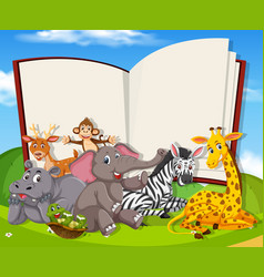 wild animals on the blank book template vector image