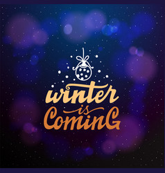 winter coming typographic emblem logo vector image