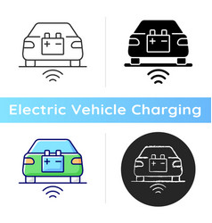 Wireless ev charging icon vector