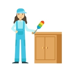Woman Dusting The Furniture Cleaning Service vector image