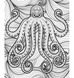 zentangle octopus in sea print for adult vector image