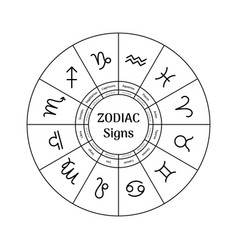 Zodiac circle with astrological symbols vector