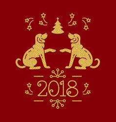 Christmas card happy new year 2018 golden dogs vector