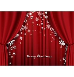 Christmas greeting card with red heavy theater vector image vector image