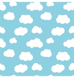 Different flat clouds on blue sky seamless pattern vector image