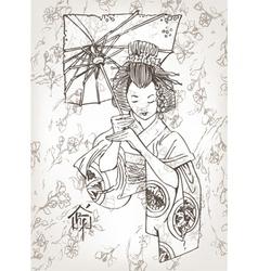 hand drawn geisha vector image vector image