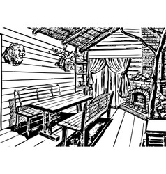 interior in a hunting style vector image