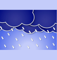 Paper rain clouds and rains vector image vector image