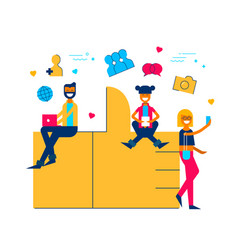 social media like icon concept with people online vector image vector image