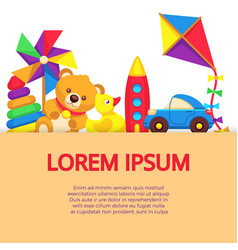 background with colorful cartoon kids toys vector image