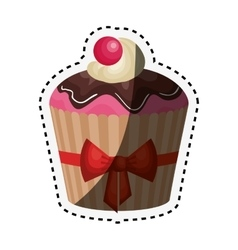 delicious cupcake birthday card vector image vector image