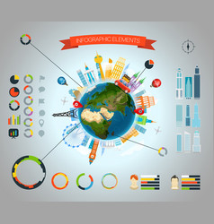 infographic elements template statistic vector image vector image