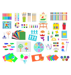 kids creativity creation symbols artistic objects vector image vector image