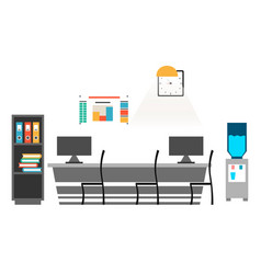 office desk with chair computer some paper vector image vector image