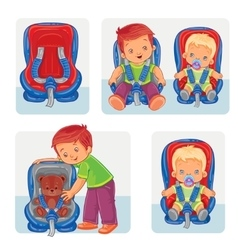 Set icons of small children in car seats vector image vector image