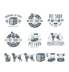 Set of pet care labels badges and design elements vector image