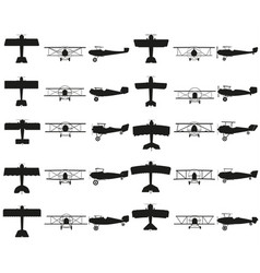 set planes black icon on white vector image vector image