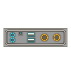Cable connection panel icon cartoon style vector
