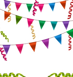 Colorful Buntings Flags Garlands and Serpentine vector image vector image