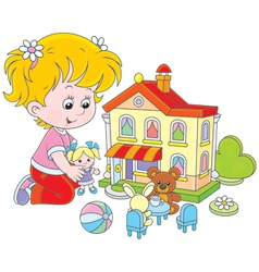 Girl with a doll and toy house vector image