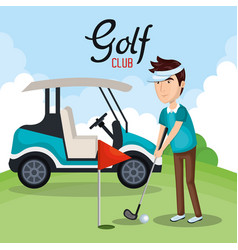 golf club sport icon vector image