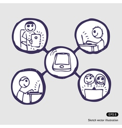 Internet community icon set vector image
