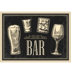 Poster or signboard BAR Set glass beer whiskey vector image vector image
