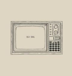retro tv television sketch vector image