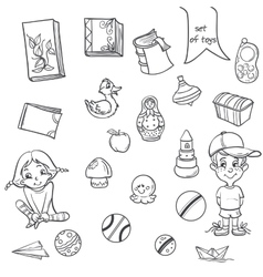 Set of toys books for boys and girls in the loop vector