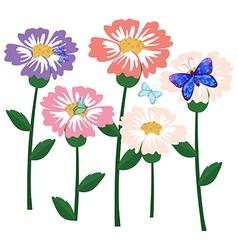 A garden of flowers with butterflies vector image vector image
