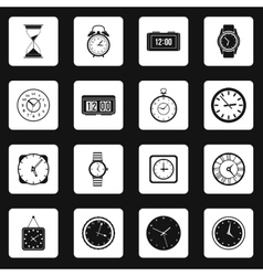 Clock icons set in simple style vector image