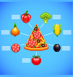 infographics with pizza slice and ingredients vector image