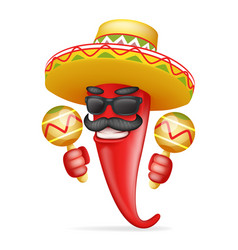 latin maraca mexican hat red cool hot chili pepper vector image vector image