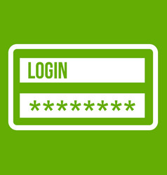login and password icon green vector image