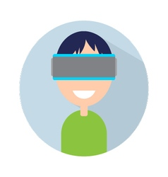 Man with virtual reality headset on your head vector image vector image