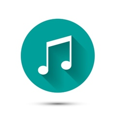 Music icon on green background with shadow vector image vector image