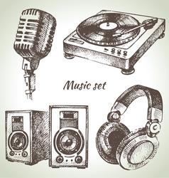 Music set Hand drawn of Dj icons vector image vector image