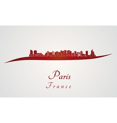 Paris V2 skyline in red vector image