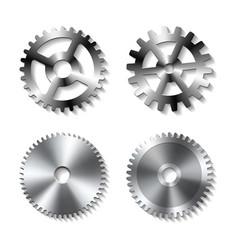 set of realistic metal gears vector image vector image