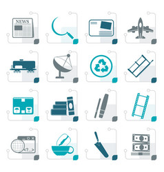 stylized business and industry icons vector image