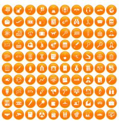 100 magnifier icons set orange vector