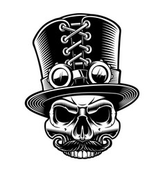 A steampunk skull in top hat vector