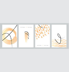 abstract minimal design gold and black ink paint vector image
