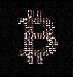 abstract sign bitcoin of binary code vector image