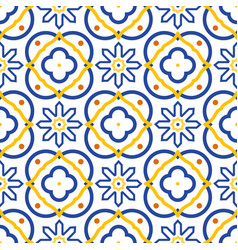 Azulejos blue and white mediterranean seamless vector