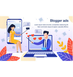 blogger advertisement flat poster template vector image
